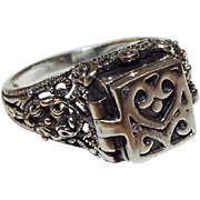 Vintage Sterling Silver Prayer Box Ring