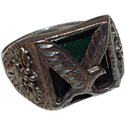 Vintage Sterling Silver Eagle Ring with Green Stone