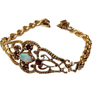 14K Yellow Gold Opal and Ruby Bracelet