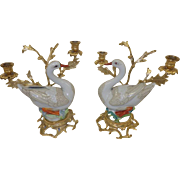 Vintage Pair of Oggetti d'Arte by Mangani Porcelain Swans and Ormolu Candelabra