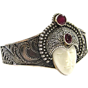 Vintage Sajen Sterling Silver Cuff Bracelet with Stone Face and Red Garnet Accents