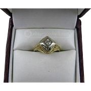 14K Yellow and White Gold Art Deco Ring with Mine-Cut Diamond