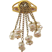 14K Yellow Gold and Cultured Baroque Pearl Tassel Ring