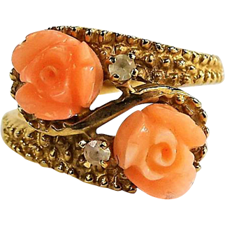 10K Yellow Gold Angel Skin Coral Ring with 2 Diamond Chip Accents.