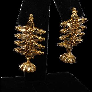22K  Yellow Gold Arabic Dangle Earrings