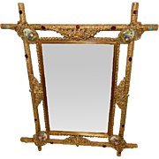 Exceptional Antique Ornate Mirror with Porcelain, Turquoise, Agate or Garnet, and Amethyst Cabochons