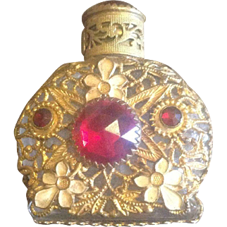Antique Gilt Filigree-Covered Perfume Bottle with Red Glass Accents