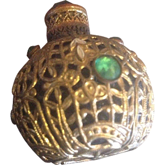 Antique Gilt Filigree Covered Perfume Bottle with Glass Accents