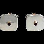 Men's vintage Sterling Silver, 14K Yellow Gold Bezel Set Ruby Cufflinks