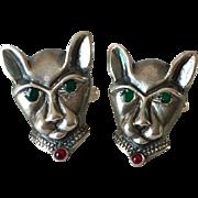 Men's Vintage Sterling Silver Cat-Headed Cufflinks with Enamel Accents