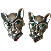 Men's Vintage Sterling Silver Cat-Headed Cufflinks with Enamel Accents