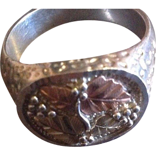 Vintage Men's Sterling Silver, 12K Yellow and Rose Black Hills Gold Ring in the Shape of Leaves