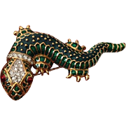 Vintage Gold-Plated, Enamled Lizard Brooch