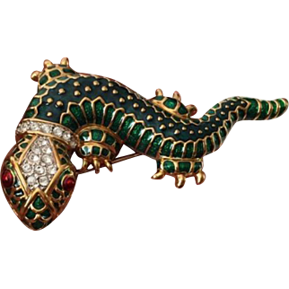 Vintage Gold-Plated, Enamled Lizard Brooch