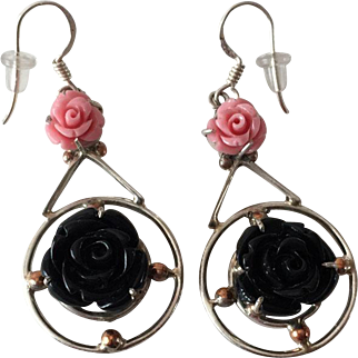 Vintage Sterling Earrings with FAUX Pink and Black Coral in Form of Roses
