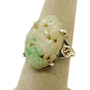 Vintage Sterling Silver Ring with Carved Flower Jade Stone