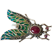 Vintage Sterling Silver Enameled Fly Brooch with Cultured Pearl and Ruby Cabochons
