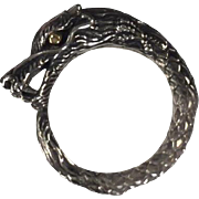 Vintage Sterling Silver with 18K Yellow Gold Accents Ouroboros/Dragon Ring