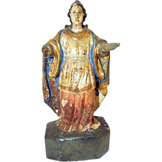 Antique Wooden Polychromed Statue of a Saint