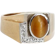 14K Yellow Gold Men's Ring with Chrysoberyl Cabochon and Diamonds