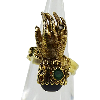 Victorian Style 14k Gold Ring in the Form of a Hand with Emerald, Garnet, Diamond.