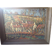 Signed Impressionist-Style Impasto Painting of Town By H.C.Beaver.