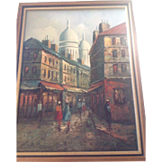 Mid-Century Modern Oil on Canvas Painting of Sacre-Coeur Paris.