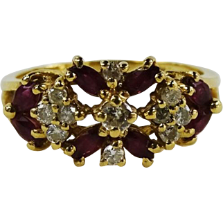 14K Gold Ruby and Diamond Openwork Ring Size 7.