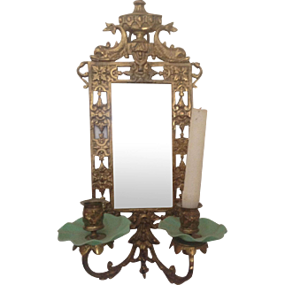 Neoclassical Brass Beveled Mirror with Dolphins