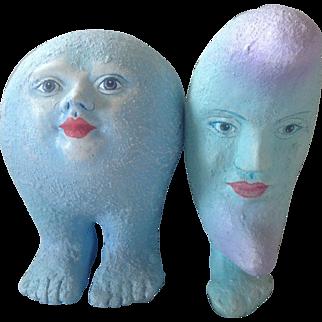 Pair Alexander Flores Ceramic Sculptures Blue Moons