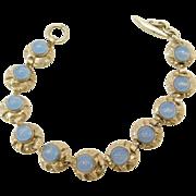 Vintage Sterling Silver Moonstone Toggle Clasp Bracelet Signed HS.