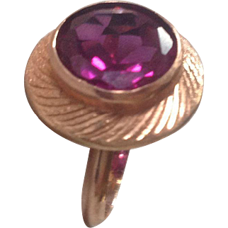 Vintage Egyptian 22K Rose Gold Statement Ring with Lab Created Sapphire