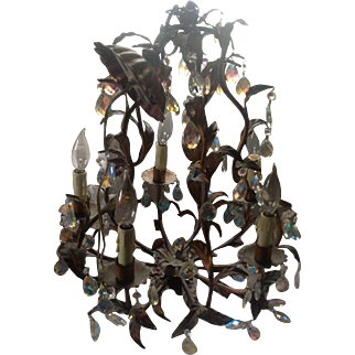 Antique Electrified Chandelier with Opalescent Crystals