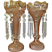 Pair of 19th Century Salmon Pink Bohemian Mantle Lusters
