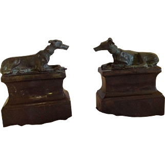 Pair of Vintage (ca. 1980) Bronze Maitland-Smith Bookends with Whippets on Base