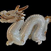 Vintage Signed Yoshimi K Iridescent White Porcelain Dragon