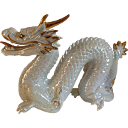 Vintage Signed Yoshimi K Iridescent White Porcelain Dragon