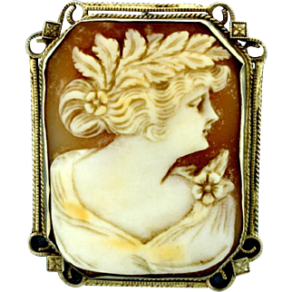 19th Century 14K White Gold Hand Carved Shell Cameo