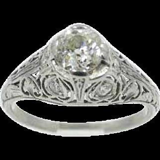 Art Deco 0.96CT Mine Cut Diamond with Accent Diamonds Set in Platinum