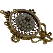 Antique Victorian 14K Yellow and Rose Gold Seed Pearl and Gold Wire Pin.