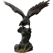 Large Vintage Cast Iron Eagle Sculpture