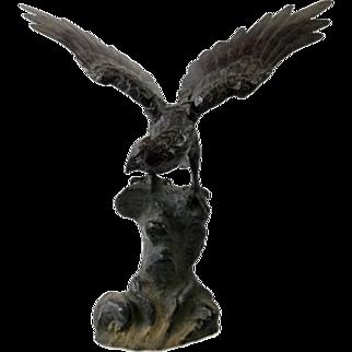 Large Vintage Cast Iron Eagle Sculpture