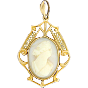 Antique White Shell Cameo Pendant set in 10K Gold Filigree