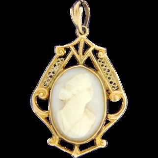 Antique White Shell Cameo Pendant set in 10K Gold Filigree
