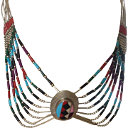 Zuni necklace with Sterling, Spiny and Red Coral, Turquoise and Onyx