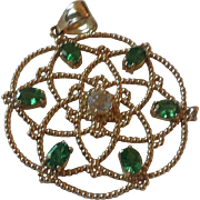 14K Yellow Gold Pendant with Six Green Tsavorite Garnets
