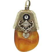 Antique 14K White Gold Elk's Tooth and Diamond Watch Fob, Pendant