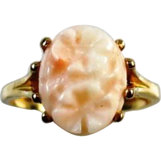 14K Yellow Gold Carved Flower Angel Skin Coral Ring