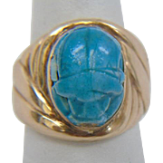 Estate 14k Yellow Gold Egyptian Scarab Ring set with Two Citrine Stones