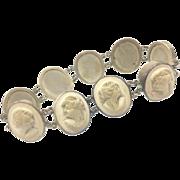 Ninetheenth-Century Victorian Lava Bracelet Consisting of Nine Cameos.